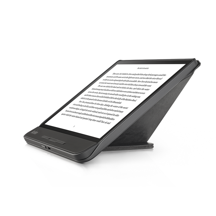 Kobo Forma with black SleepCover in landscape folded into a stand
