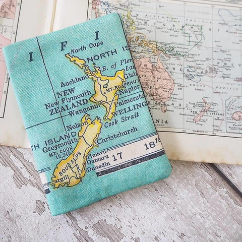 Passport holder with personalised vintage map