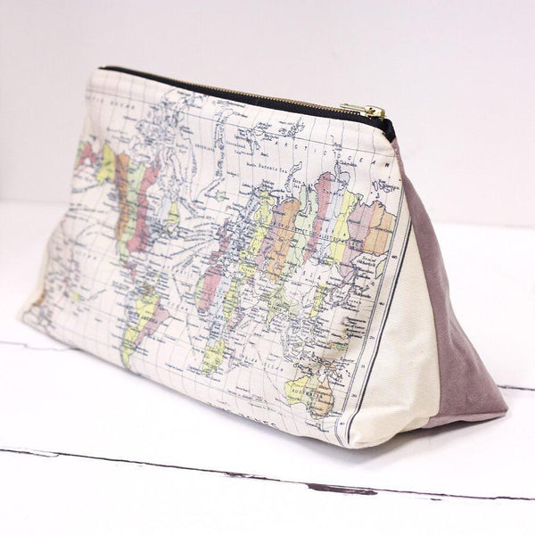 Make up bag or wash bag with world map and cotton or velvet backing