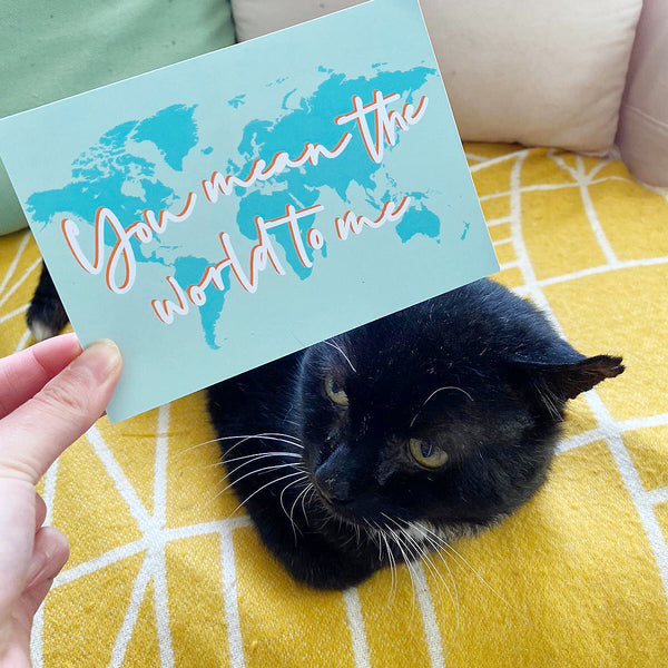 'You mean the world to me' notecard pack