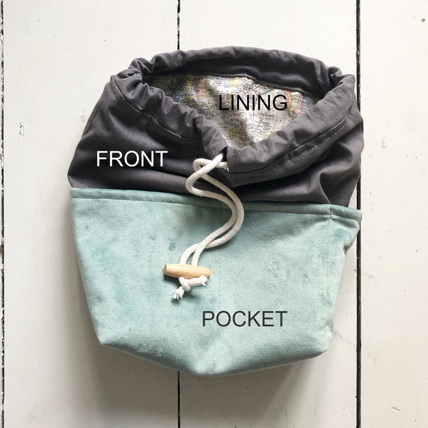 Project bag with zipped pocket - 3 sizes available