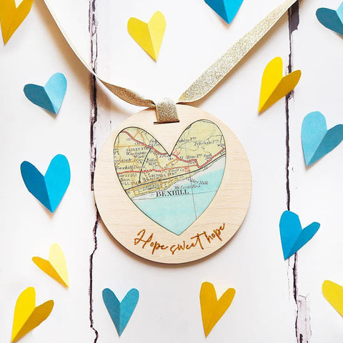 'Hope Sweet Hope' personalised map keepsake