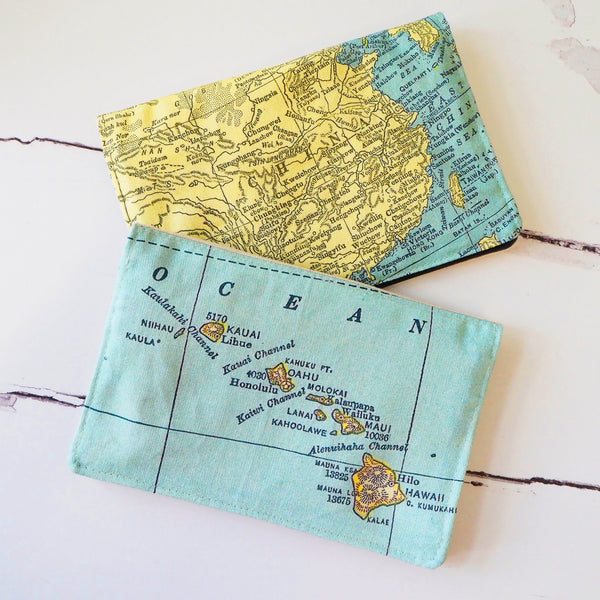 Travel wallet with personalised map print