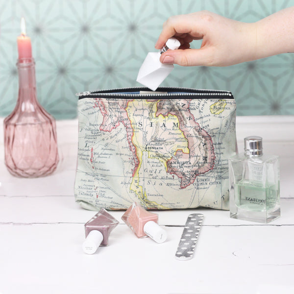 Medium personalised map and velvet travel pouch