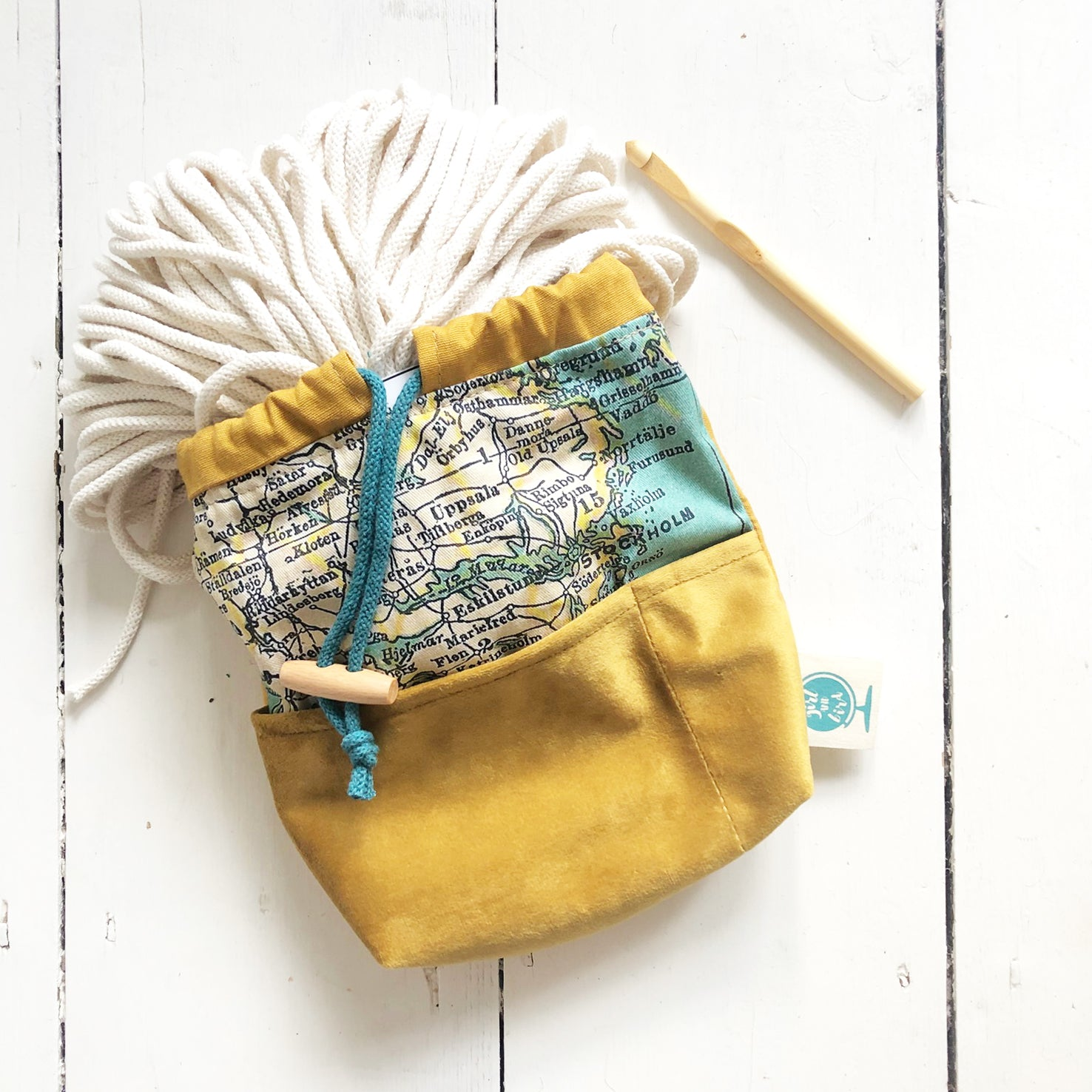 Medium personalised map project bag