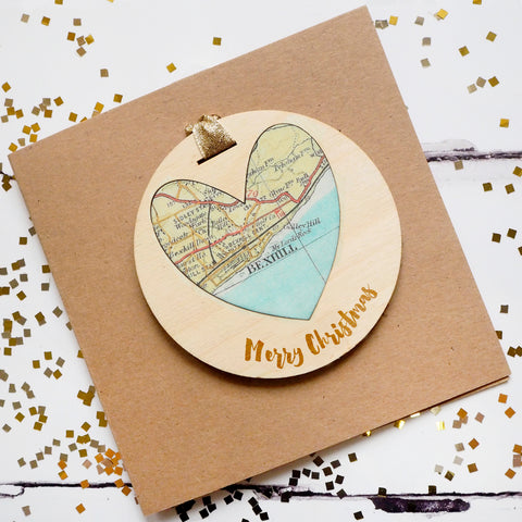 'Merry Christmas' personalised map keepsake