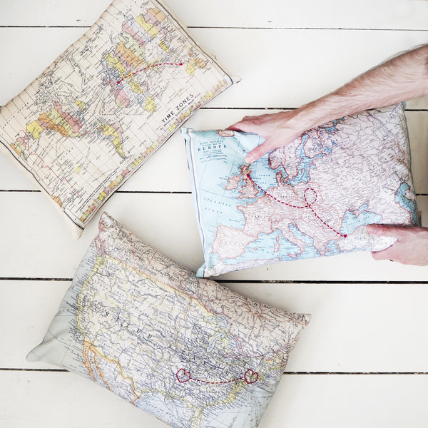 Personalised map of the USA cushion