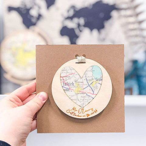 'Best Teacher in the world' personalised map keepsake