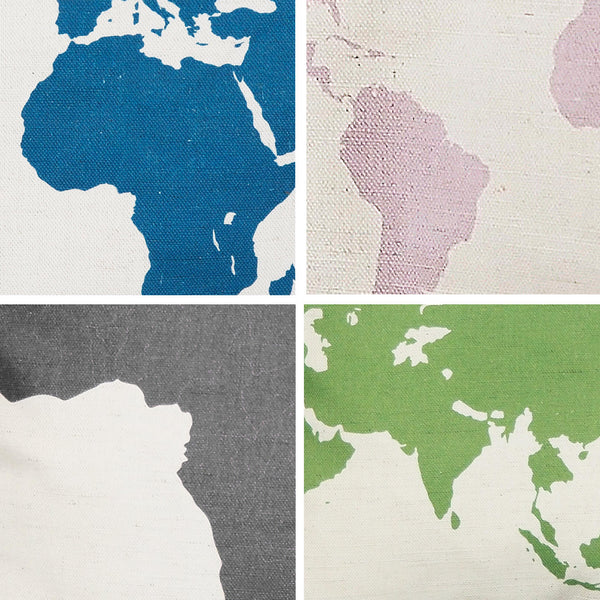 Silhouette map of the world cushion