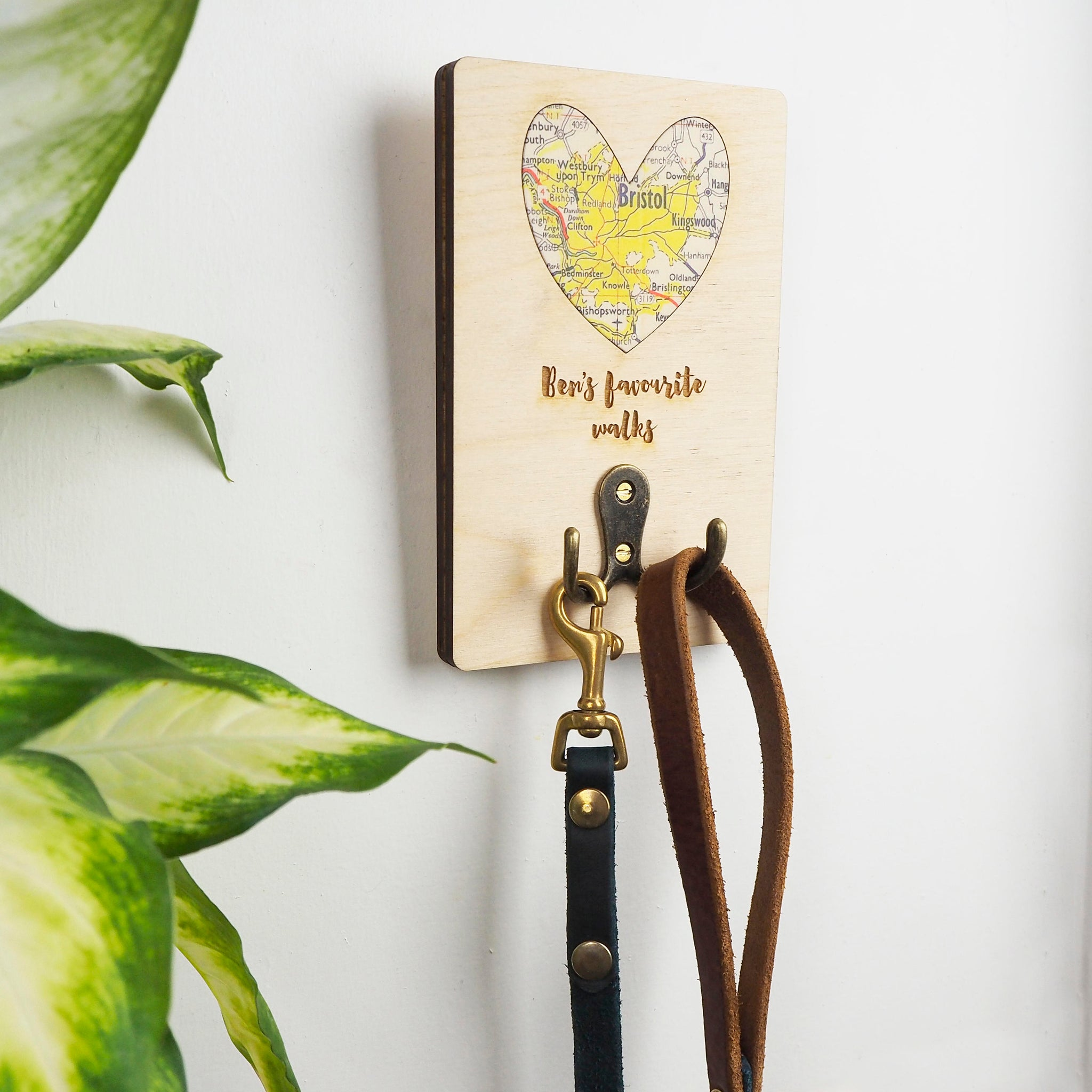 Dog lead hook with personalised map and text