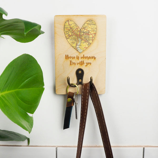 Key or coat hook with personalised map and text