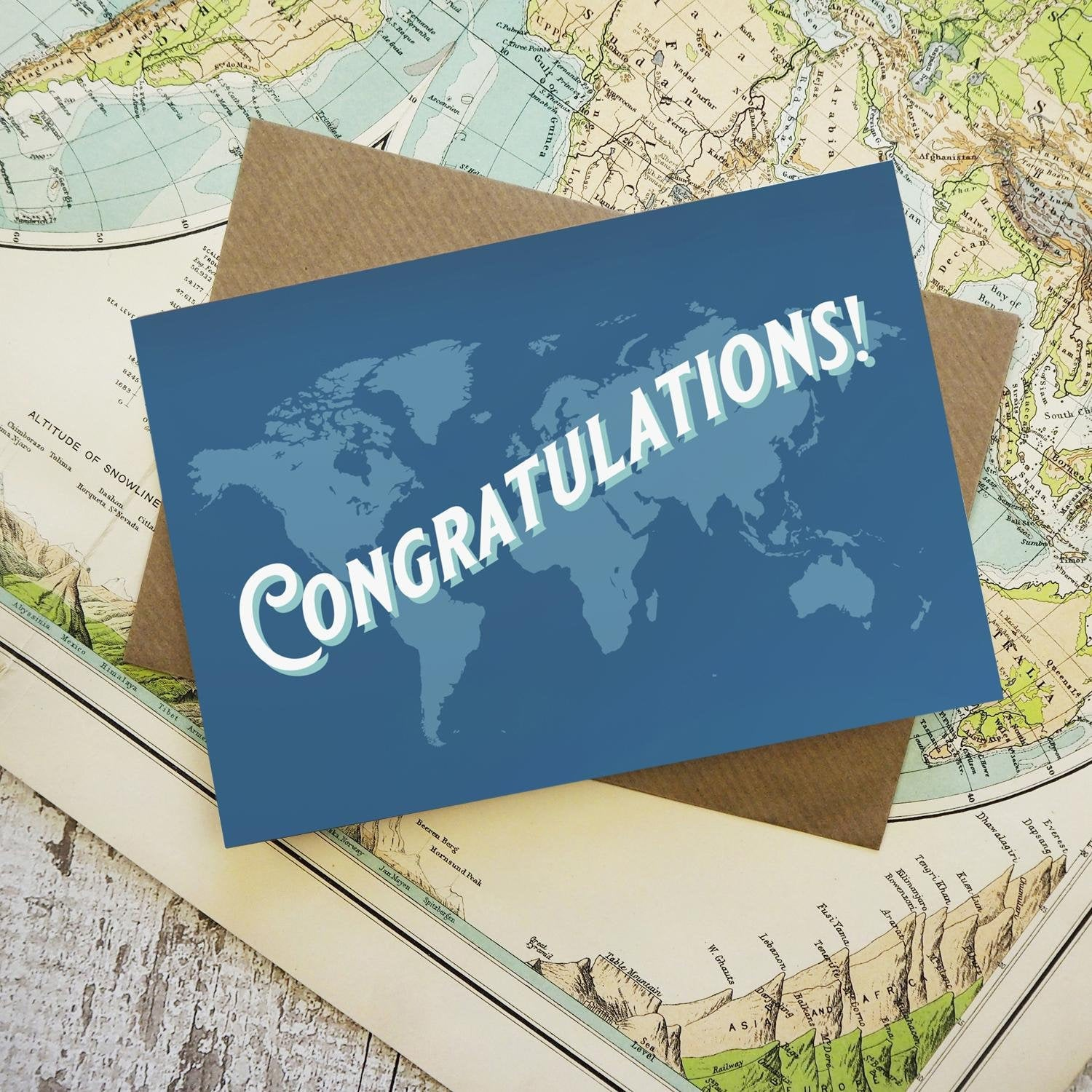 Congratulations - map greetings card
