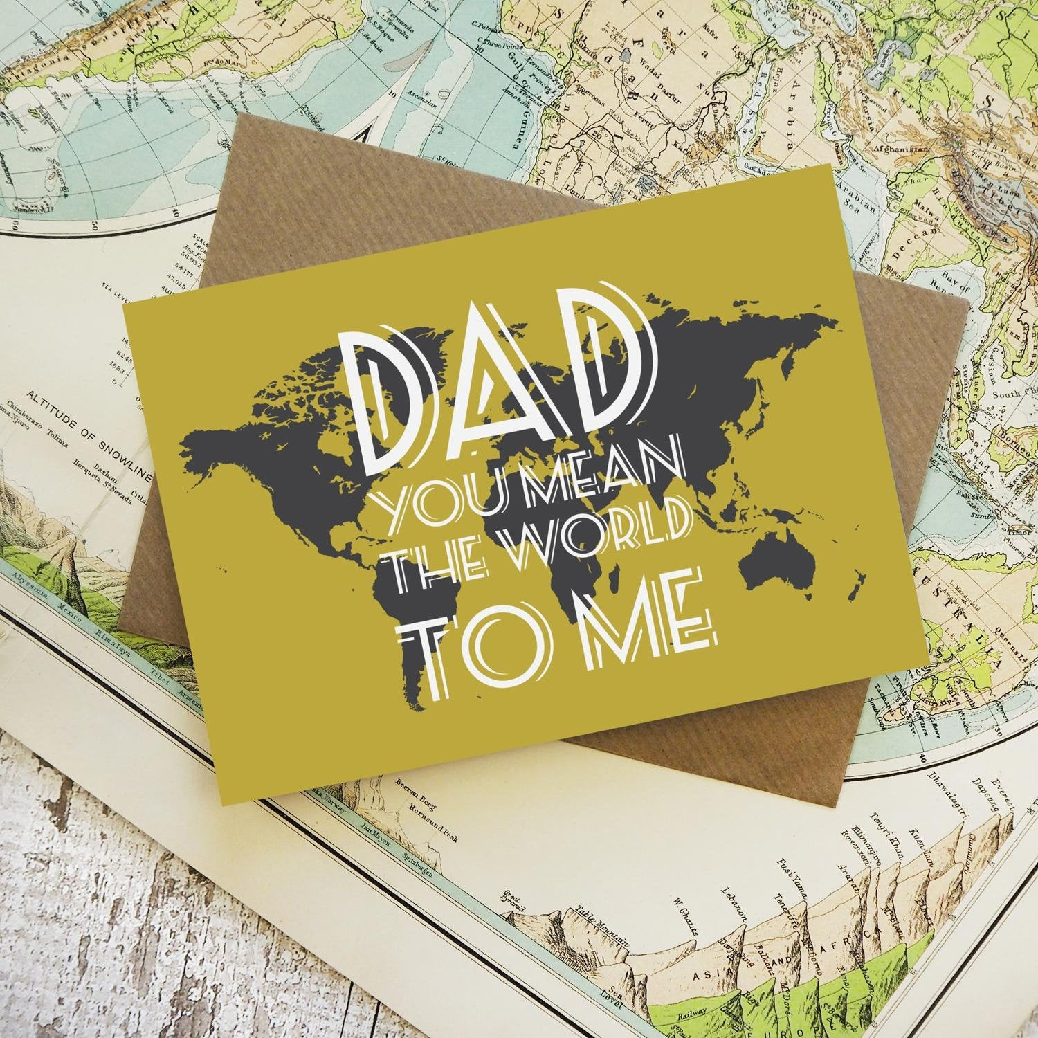 Dad, you mean the world to me - map greetings card
