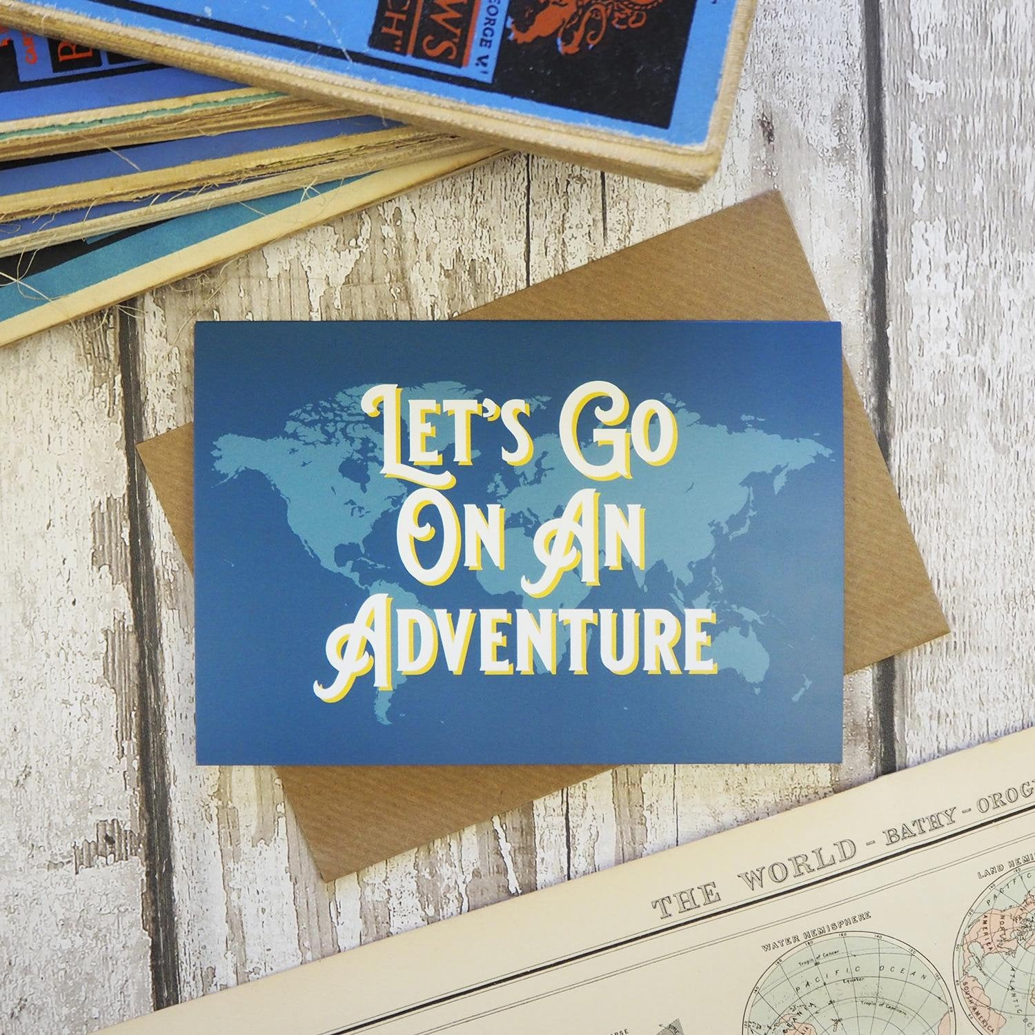 Let's go on an adventure - map greetings card