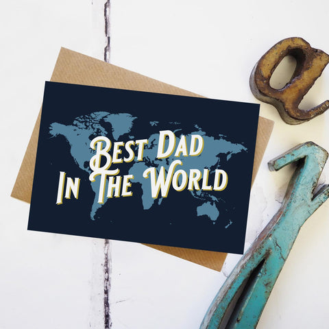 Best dad in the world - map greetings card