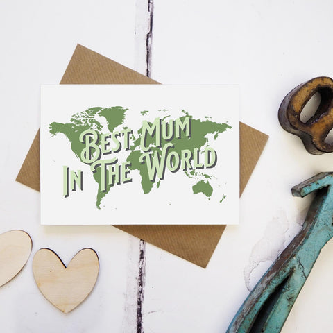 Best mum in the world - map greetings card