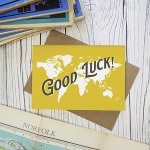 Good Luck on your next adventure - map greetings card