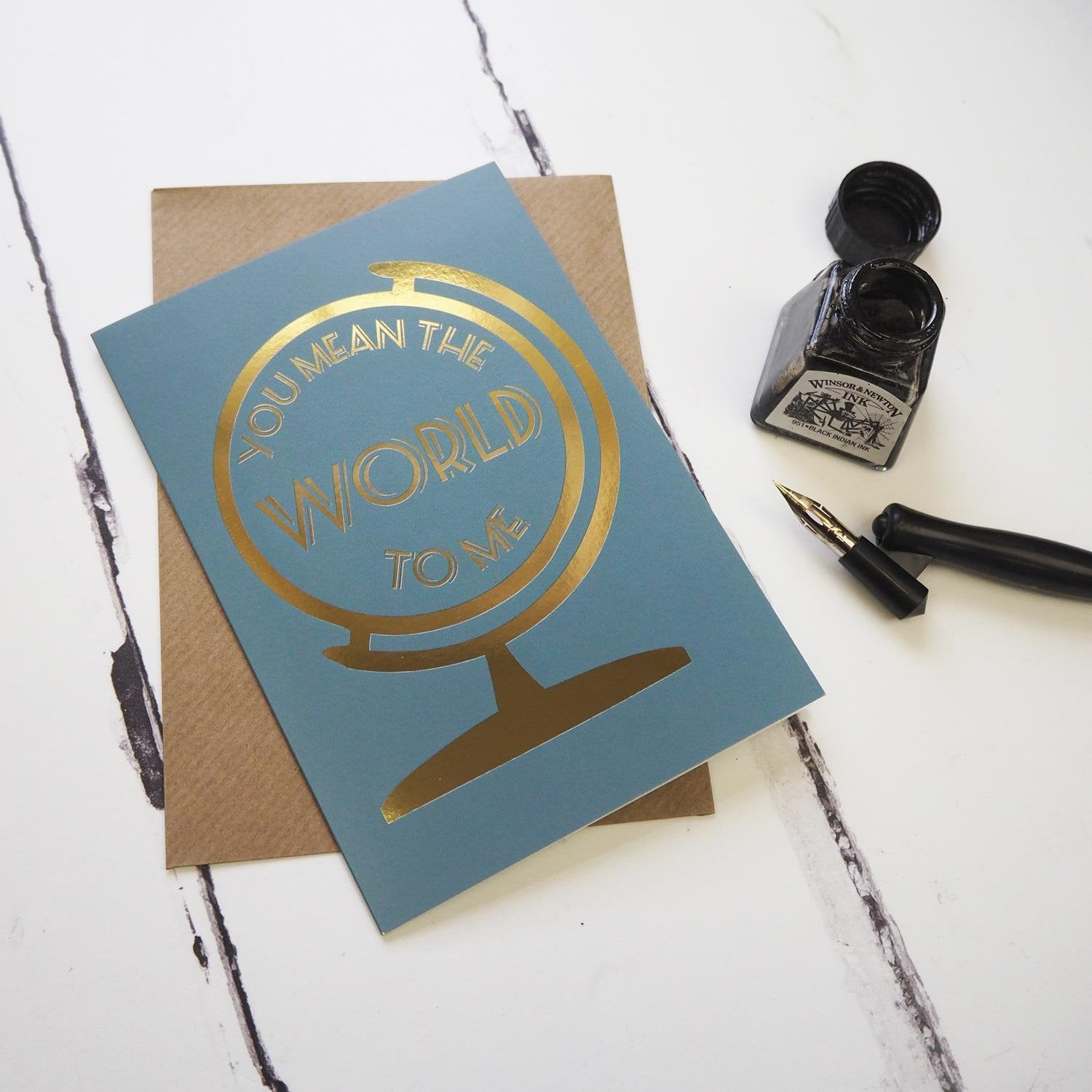 You mean the world to me - Foiled globe greetings card