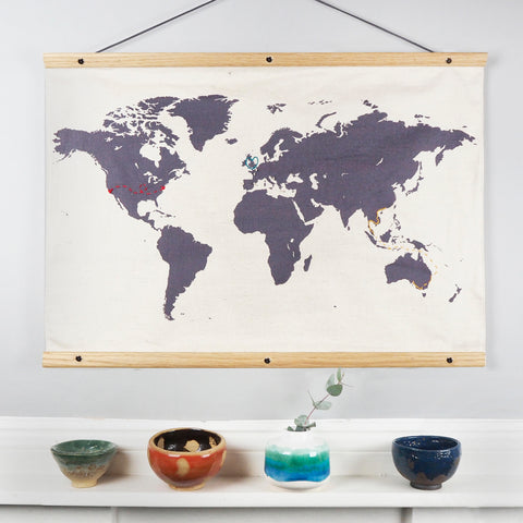 Map of the world wall hanging