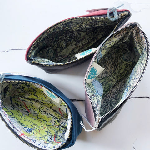 Velvet pouches with Bristol map linings