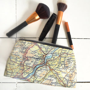 Make up bag with personalised map and cotton or velvet backing