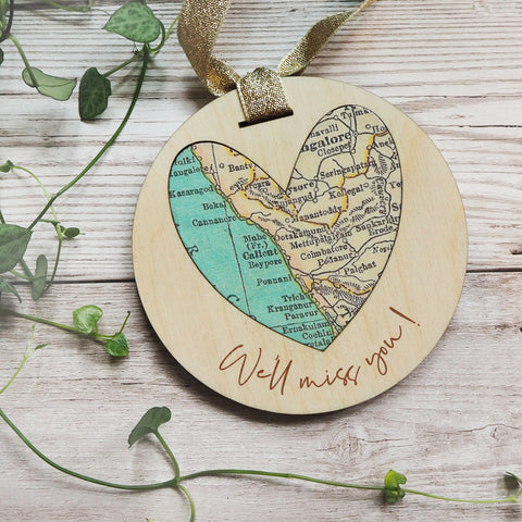 'We'll miss you' personalised map keepsake