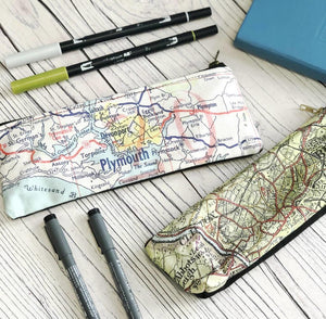 Pencil case with personalised map and cotton or velvet backing