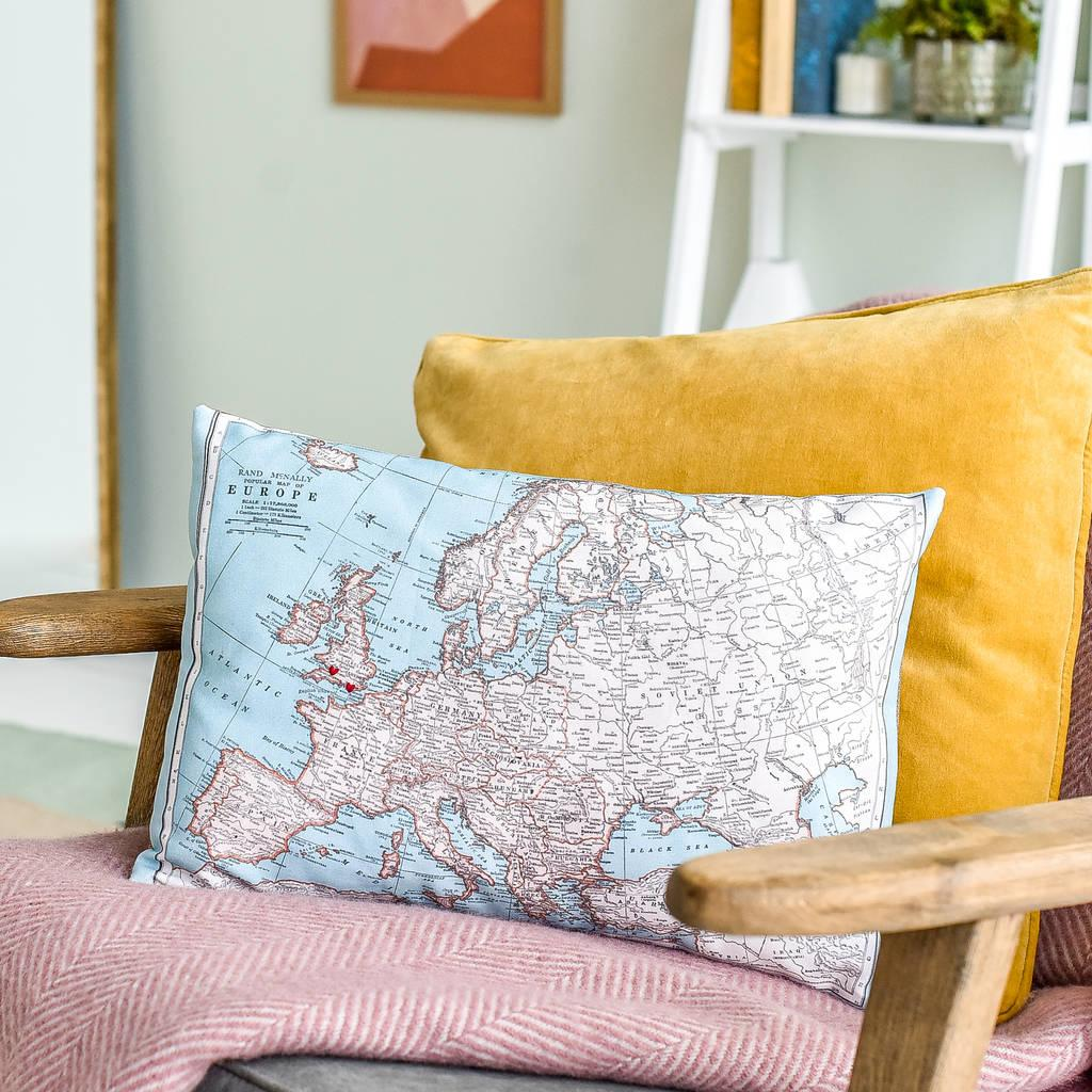 Personalised map of Europe cushion