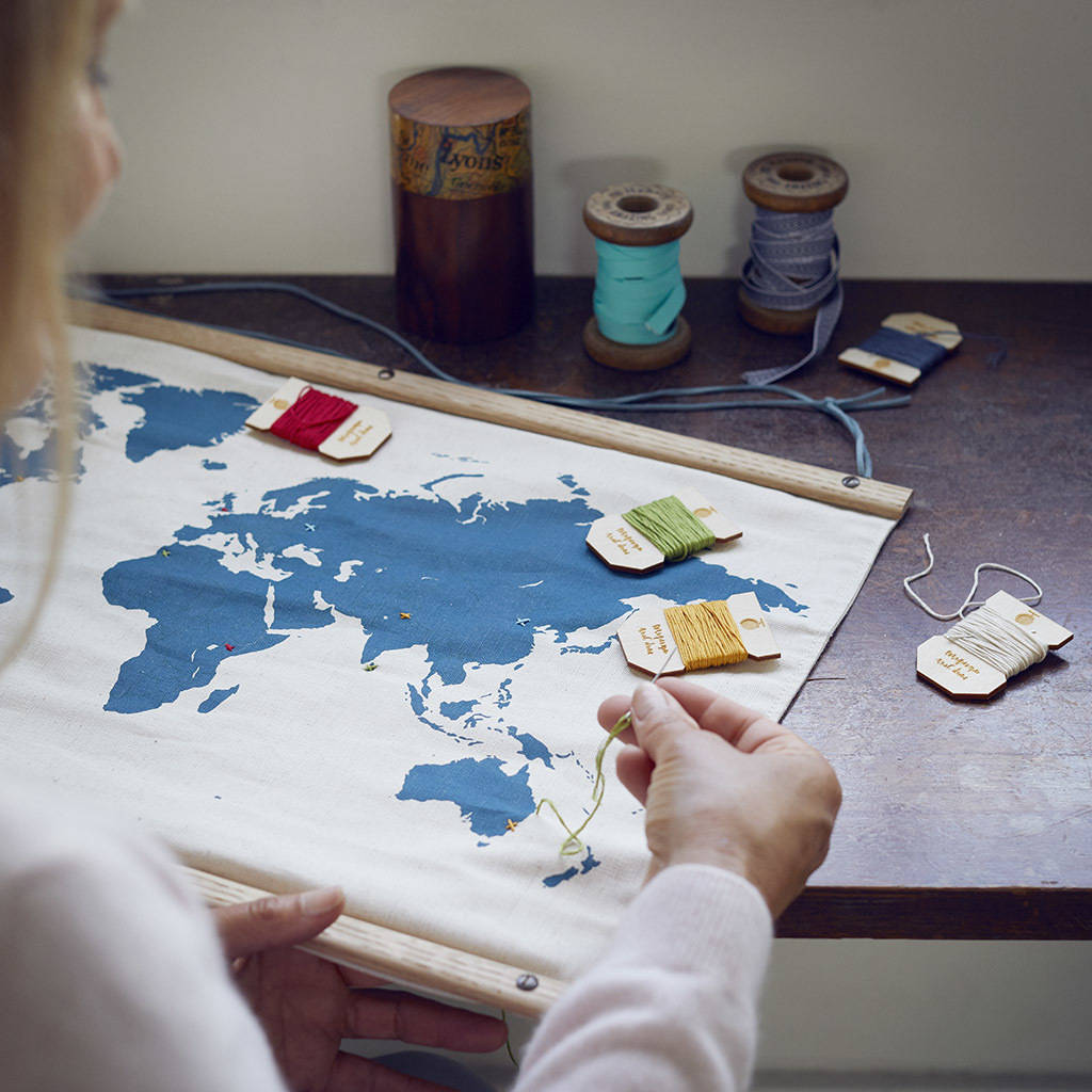 DIY embroidery map of the world wall hanging