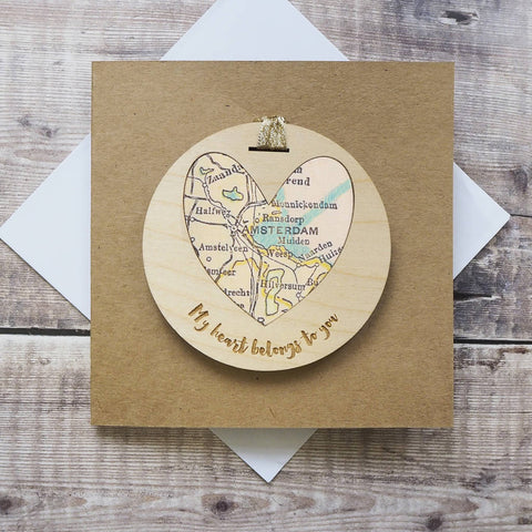 'My heart belongs to you' personalised map keepsake