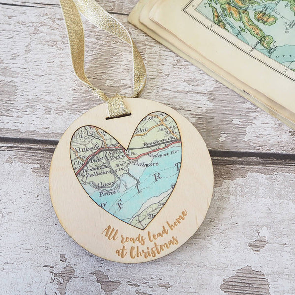 'All roads lead home at Christmas' personalised map keepsake