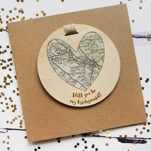 'Will you be my bridesmaid?' personalised map keepsake