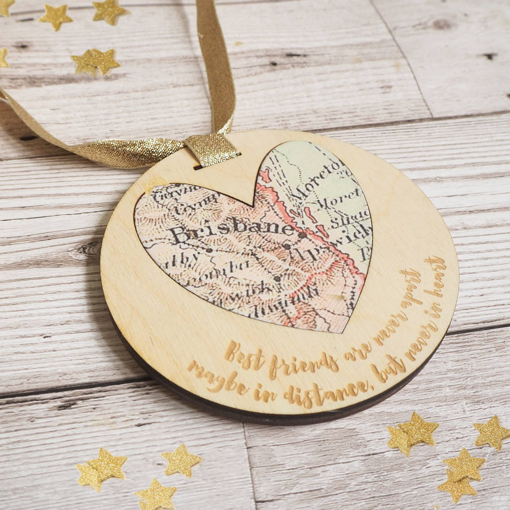'Best friends are never apart' personalised map keepsake