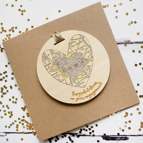'Congratulations on your engagement' personalised map keepsake
