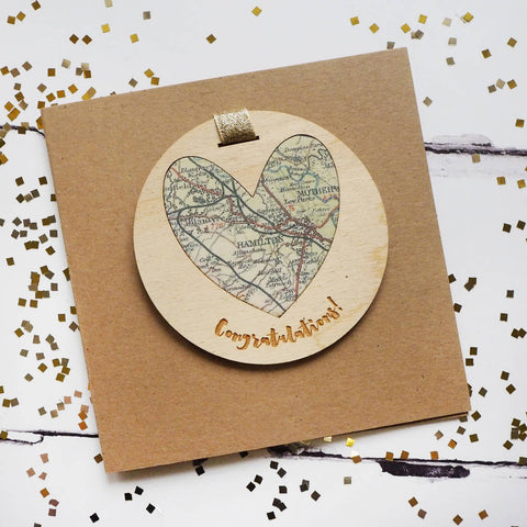 'Congratulations' personalised map keepsake