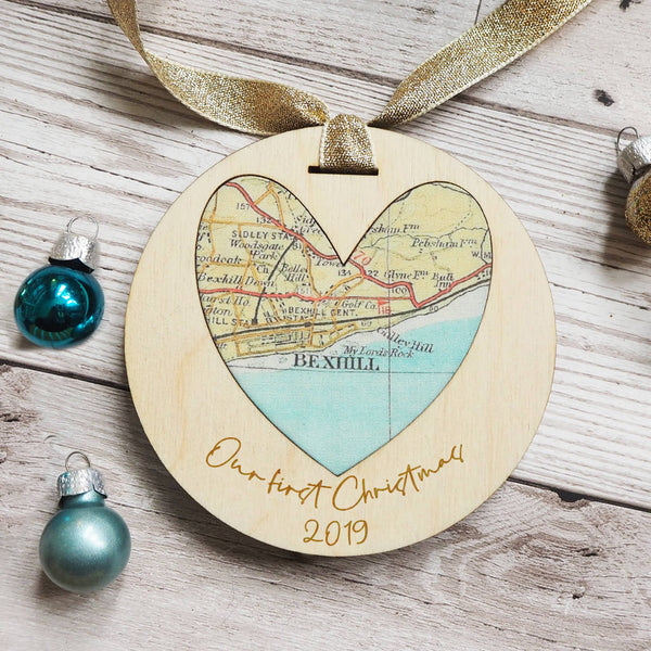 'Our First Christmas' personalised map keepsake