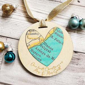 Newly-wed first Christmas bespoke text map keepsake