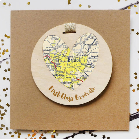 'First Class Graduate' personalised map keepsake