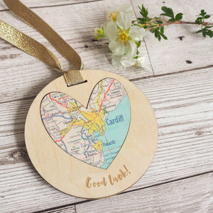'Good Luck' personalised map keepsake