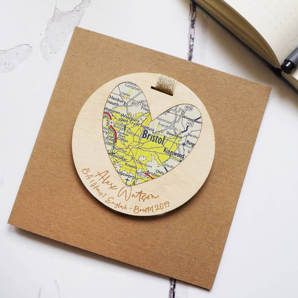 Graduation bespoke text map keepsake