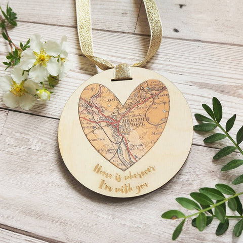 'Home is wherever I'm with you' personalised map keepsake