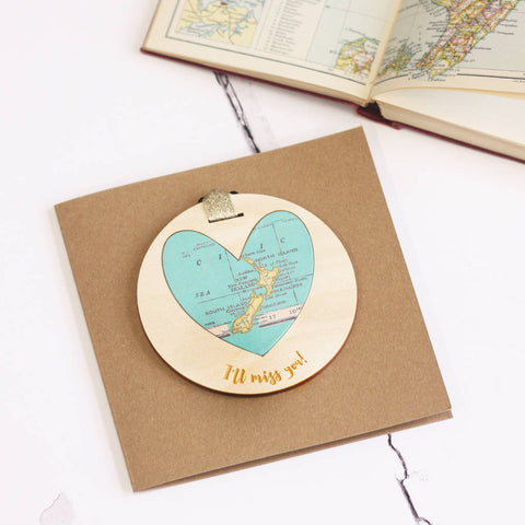 'I'll miss you' personalised map keepsake