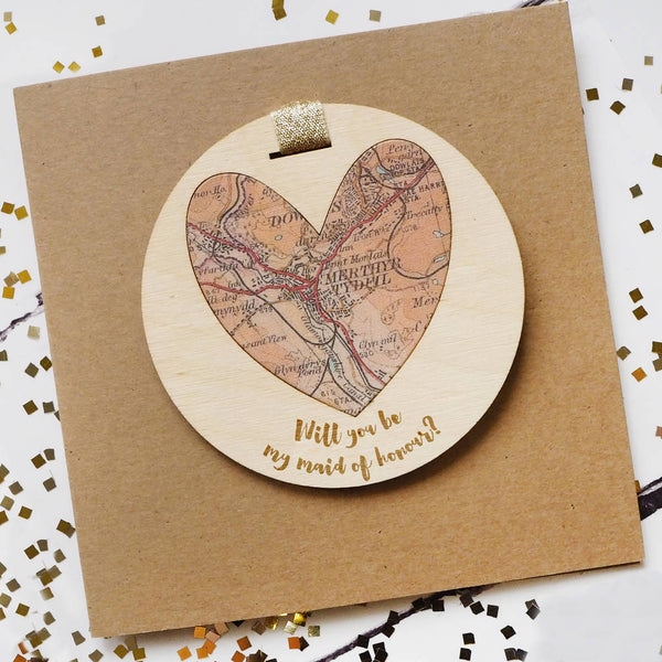 'Will you be my maid of honour' personalised map keepsake