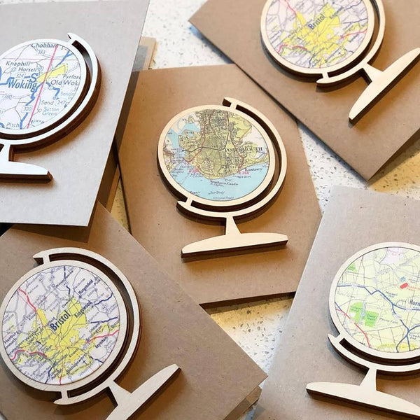 Globe personalised map keepsake