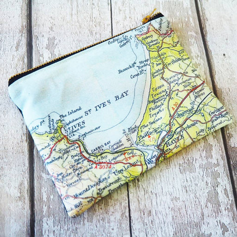 Clutch purse with personalised map and cotton or velvet backing