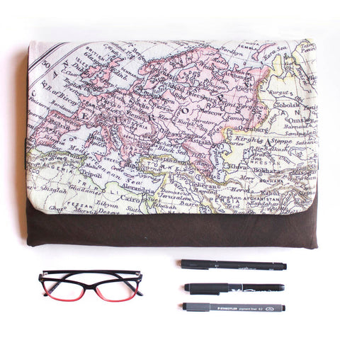 Laptop case with personalised vintage map print
