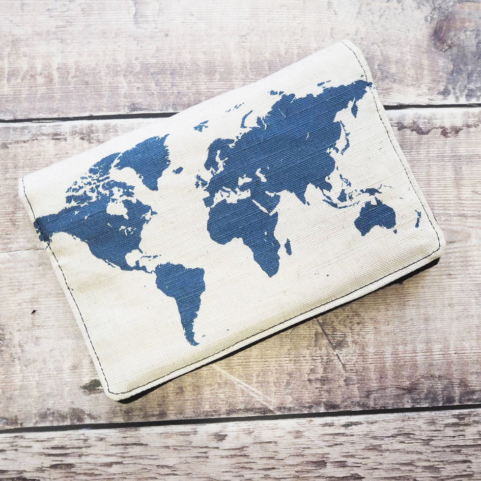 Travel wallet with map of the world print