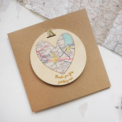 'Thank you for guiding me' personalised map keepsake