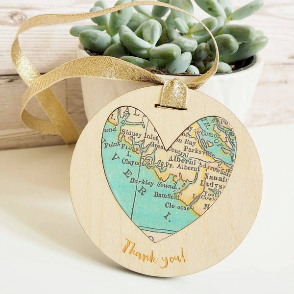 'Thank you' personalised map keepsake