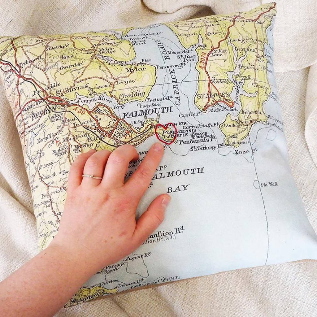Personalised vintage map cushion cover with embroidered heart